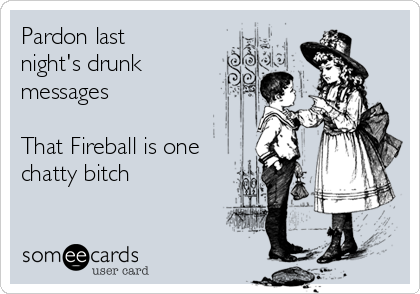 Pardon last night's drunk messages  That Fireball is one chatty bitch