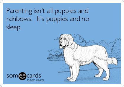 Parenting isn't all puppies and rainbows.  It's puppies and no sleep.