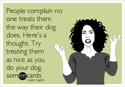 People complain no  one treats them the way their dog does. Here's a thought. Try treating them as nice as you do your dog.