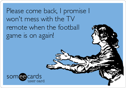 Please come back, I promise I won't mess with the TV remote when the football game is on again!