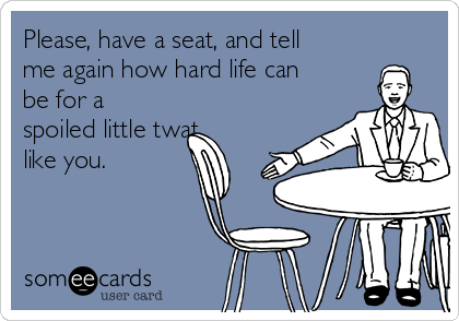 Please, have a seat, and tell me again how hard life can be for a spoiled little twat like you.