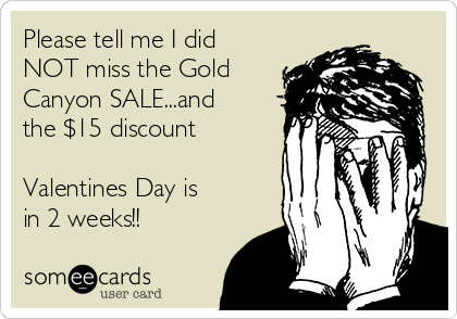 Please tell me I did NOT miss the Gold Canyon SALE...and the $15 discount  Valentines Day is in 2 weeks!!