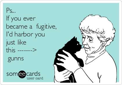 Ps... If you ever  became a  fugitive,  I'd harbor you just like  this -------> ♥gunns