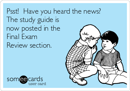 Psst!  Have you heard the news? The study guide is now posted in the Final Exam Review section.