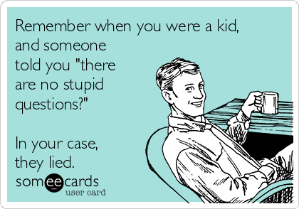 """Remember when you were a kid, and someone told you """"there are no stupid questions?""""  In your case,  they lied."""