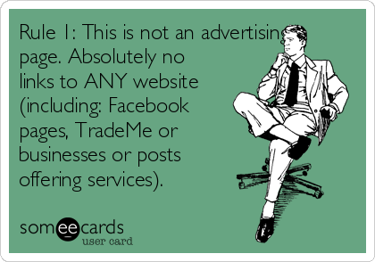 Rule 1: This is not an advertising page. Absolutely no links to ANY website (including: Facebook pages, TradeMe or       businesses or posts offering services).