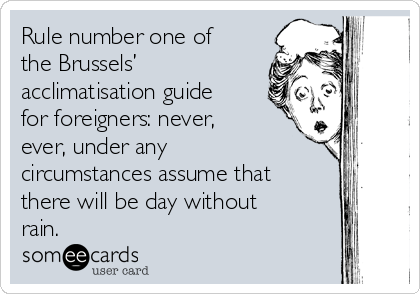 Rule number one of the Brussels' acclimatisation guide for foreigners: never, ever, under any circumstances assume that there will be day without rain.
