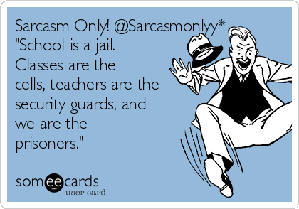 """Sarcasm Only! @Sarcasmonlyy*  """"School is a jail. Classes are the cells, teachers are the security guards, and we are the prisoners."""""""