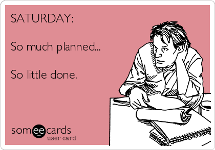 SATURDAY:  So much planned...  So little done.