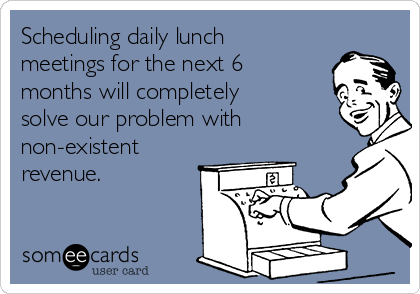 Scheduling daily lunch meetings for the next 6 months will completely solve our problem with non-existent revenue.