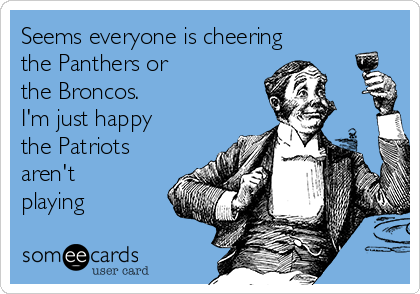 Seems everyone is cheering the Panthers or  the Broncos. I'm just happy the Patriots aren't playing