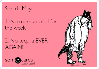 Seis de Mayo  1. No more alcohol for the week.   2. No tequila EVER AGAIN!
