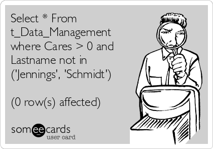 Select * From t_Data_Management where Cares > 0 and Lastname not in ('Jennings', 'Schmidt')  (0 row(s) affected)