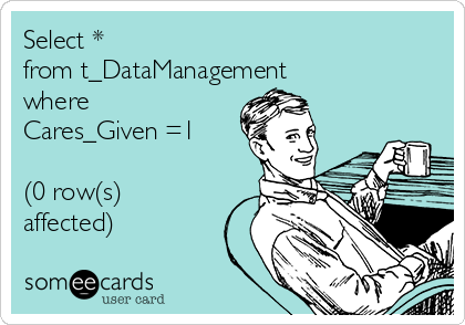Select *  from t_DataManagement where Cares_Given =1  (0 row(s) affected)
