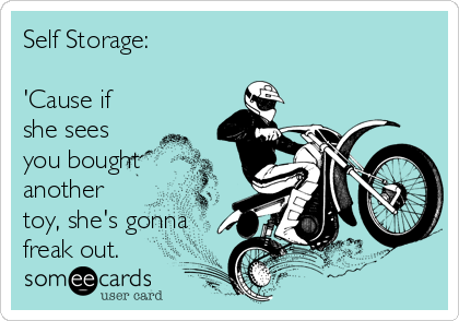 Self Storage:  'Cause if she sees you bought another toy, she's gonna freak out.