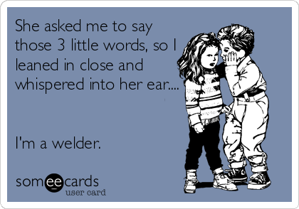 She asked me to say those 3 little words, so I leaned in close and whispered into her ear....   I'm a welder.