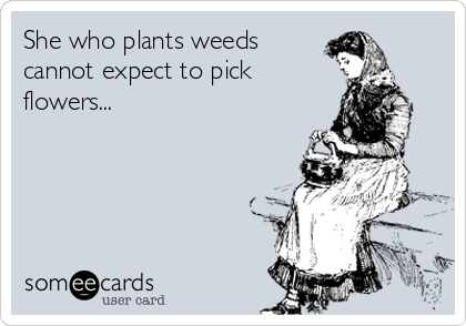 She who plants weeds cannot expect to pick flowers...