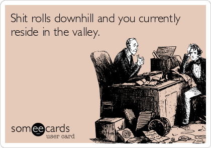 Shit rolls downhill and you currently reside in the valley.