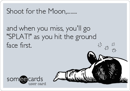 "Shoot for the Moon,........  and when you miss, you'll go ""SPLAT!"" as you hit the ground face first."