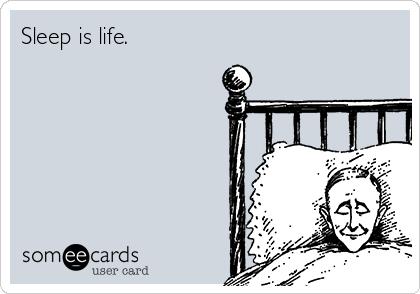 Sleep is life.