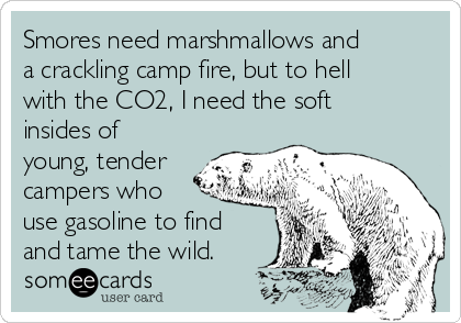 Smores need marshmallows and a crackling camp fire, but to hell with the CO2, I need the soft insides of young, tender campers who use gasoline to find and tame the wild.