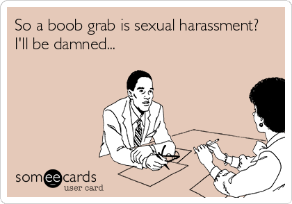 So a boob grab is sexual harassment? I'll be damned...