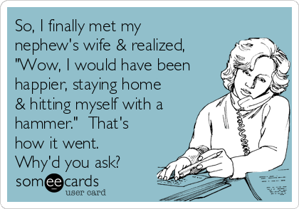 """So, I finally met my nephew's wife & realized, """"Wow, I would have been happier, staying home & hitting myself with a hammer.""""  That's how it went.  Why'd you ask?"""