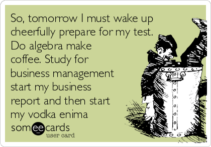 So, tomorrow I must wake up cheerfully prepare for my test. Do algebra make coffee. Study for business management start my business report and then start my vodka enima