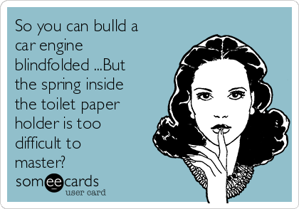 So you can buIld a car engine blindfolded ...But the spring inside the toilet paper holder is too difficult to master?