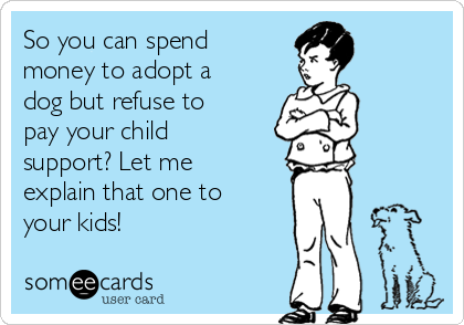 So you can spend money to adopt a dog but refuse to pay your child support? Let me explain that one to your kids!