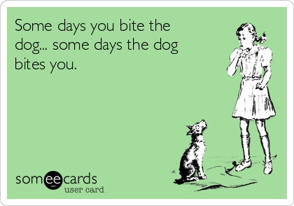 Some days you bite the dog... some days the dog bites you.