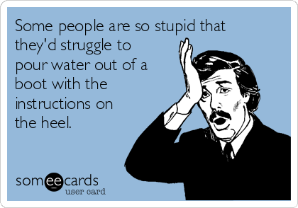 Some people are so stupid that they'd struggle to pour water out of a boot with the instructions on the heel.