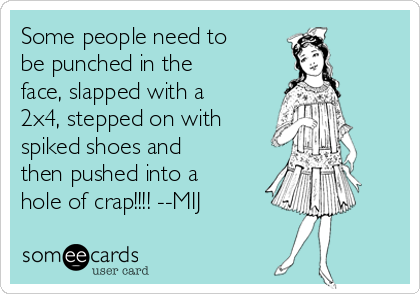 Some people need to be punched in the face, slapped with a 2x4, stepped on with spiked shoes and then pushed into a hole of crap!!!! --MIJ