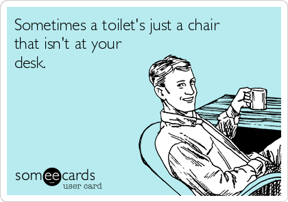 Sometimes a toilet's just a chair that isn't at your desk.