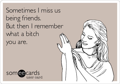 Sometimes I miss us being friends. But then I remember what a bitch you are.