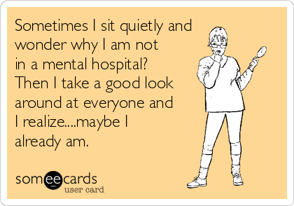 Sometimes I sit quietly and wonder why I am not in a mental hospital? Then I take a good look  around at everyone and I realize....maybe I already am.
