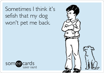Sometimes I think it's  sefish that my dog won't pet me back.