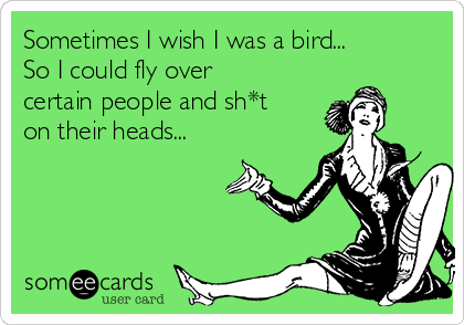 Sometimes I wish I was a bird... So I could fly over certain people and sh*t on their heads...