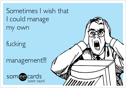 Sometimes I wish that I could manage my own  fucking  management!!!