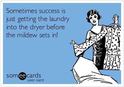 Sometimes success is just getting the laundry into the dryer before the mildew sets in!