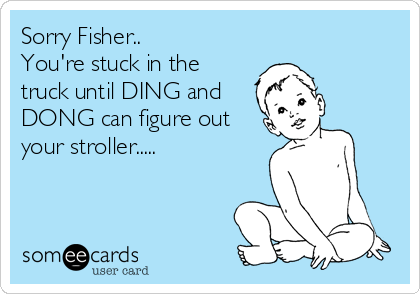 Sorry Fisher.. You're stuck in the truck until DING and DONG can figure out your stroller.....