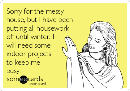 Sorry for the messy house, but I have been putting all housework off until winter. I will need some indoor projects to keep me busy.