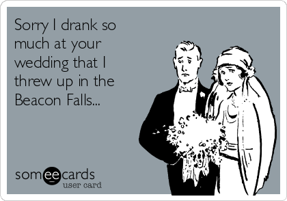 Sorry I drank so much at your wedding that I threw up in the Beacon Falls...