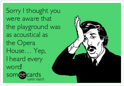 Sorry I thought you were aware that  the playground was as acoustical as the Opera House… Yep, I heard every word!