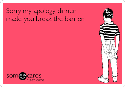 Sorry my apology dinner made you break the barrier.