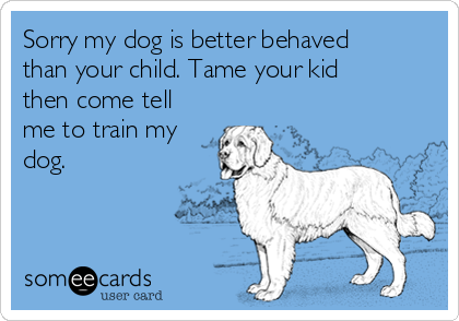 Sorry my dog is better behaved than your child. Tame your kid then come tell me to train my dog.