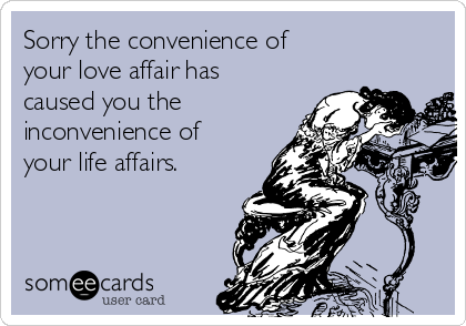 Sorry the convenience of your love affair has caused you the inconvenience of your life affairs.