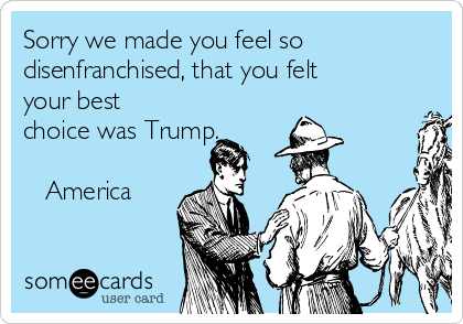 Sorry we made you feel so disenfranchised, that you felt your best choice was Trump.  ❤️ America