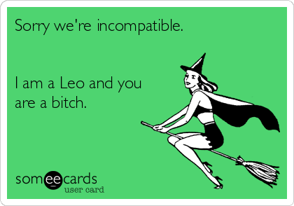 Sorry we're incompatible.   I am a Leo and you are a bitch.