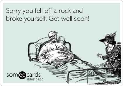 Sorry you fell off a rock and broke yourself. Get well soon!